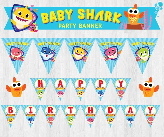PinkFong Baby Shark EDITABLE Birthday Party Banner/ Party