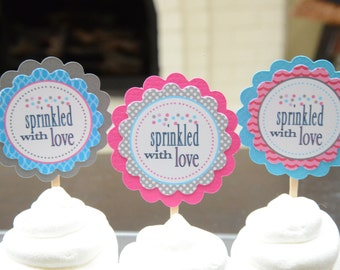 Sprinkled with love cupcake toppers-set of 12
