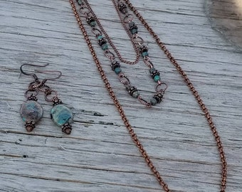 Copper And Imperial Turquoise Necklace And Earring Set