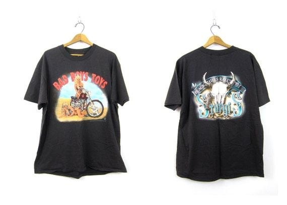 1995 STURGIS Bad Boys Toys Motorcycle biker tshirt Black Hills Rally American Biker tee size XL COed Unisex cotton South Dakota SD