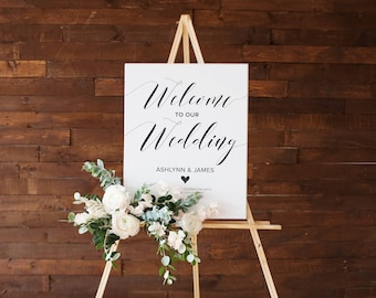 Welcome Wedding Entrance Sign, Customizable Wedding Sign for Reception, Black and White Wedding Sign