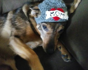 Dog crochet Valentine's hat, old school tattoo style, I love mom, heart