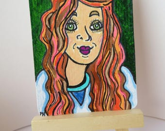 Green Eyes ACEO Fun Whimsical Painting Original Art One of a Kind