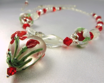 Red and White Lampwork Heart Necklace with Swarovski, fine Sterling Silver, Vintage White Givre beads, and Swarovski
