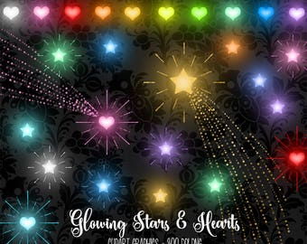 Glowing Stars and Hearts Clipart, valentine clipart, gold star clip art graphics, sparkling star trails, shooting star instant download
