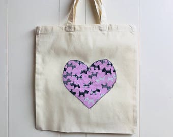 Handmade Cotton Shopping Bag with Applique Heart - Scottie Dogs Shopping Bag