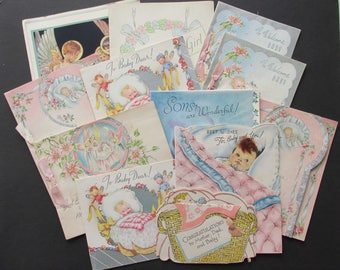 Vintage USED Greetings cards  for scrap booking or craft project - All with New Baby theme.