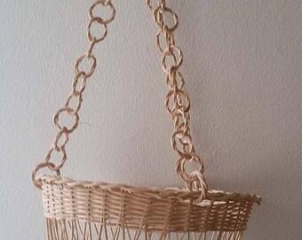 Vintage Swedish style woven straw rattan wicker hanging basket plant holder air plant holder nursery decor