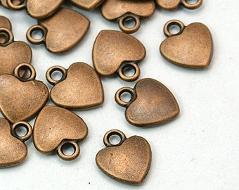 Heart Charms Copper Heart Charms Heart Pendants BULK Charms Wholesale Charms Copper Charms Antiqued Copper 50 pieces