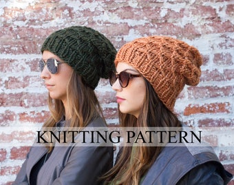 KNITTING PATTERN Honeycomb Beanie - Slouch Beanie Knitting Pattern - Knit Hat Pattern - Knit Beanie Pattern - Slouchy Hat Pattern - Beanies