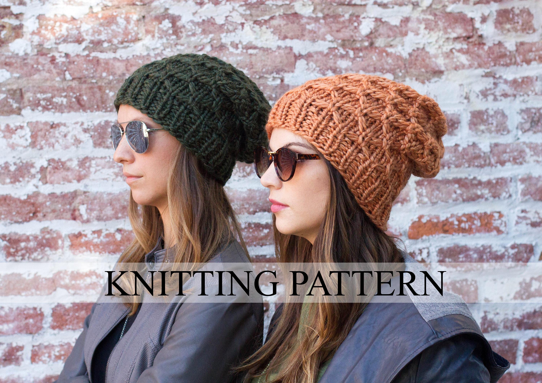 KNITTING PATTERN Honeycomb Beanie - Slouch Beanie Knitting Pattern ...