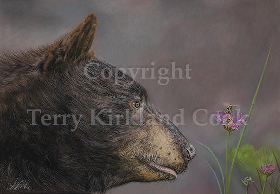 The Bear and the Bee ~ Fine Art Giclee Print of an Original Copyrighted Painting by Terry Kirkland Cook