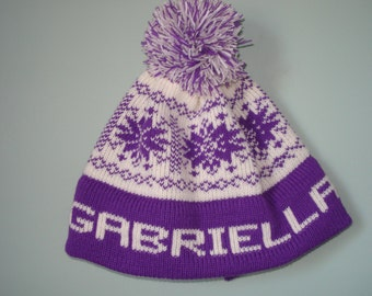 Personalized and  child's knit hat-  Gabriella, Madeline,  Natalie, Savannah, Riley