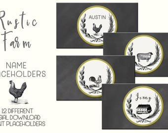 """Rustic Farm Tent Name Cards / Placeholder Cards- Digital Printable - Instant Download (12 - 3.5""""x2"""" cards- 300DPI JPG Files - Rustic Wedding"""