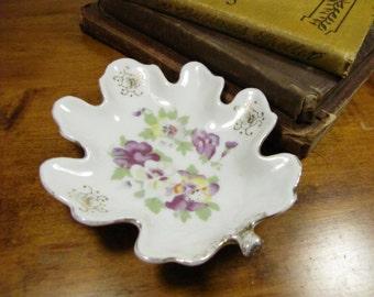 Vintage M.B. Leaf Shaped Trinket Dish- Purple and Yellow Pansies
