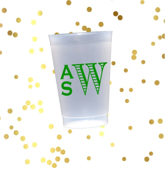 Monogrammed frosted cups, custom shatterproof cup, monogrammed reception cup, hostess gift, engagement party cups, pool party tumblers