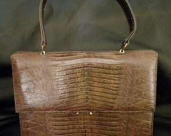 Vintage 1950's Bellestone Brown Reptile Lizard Handbag
