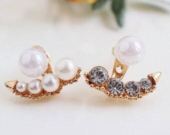 Ear Jacket Earrings,Ear Jacket Gold, Pearl Ear Jacket,Gold Ear Jacket,Stud Pearl Earring,Rhinestone EarJacket,Large Ear Jacket,Wedding Pearl