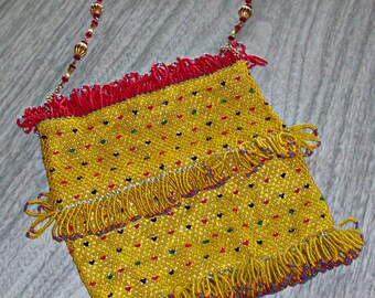 Vintage Yellow/Red Seeded Purse