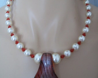 Necklace white and Red