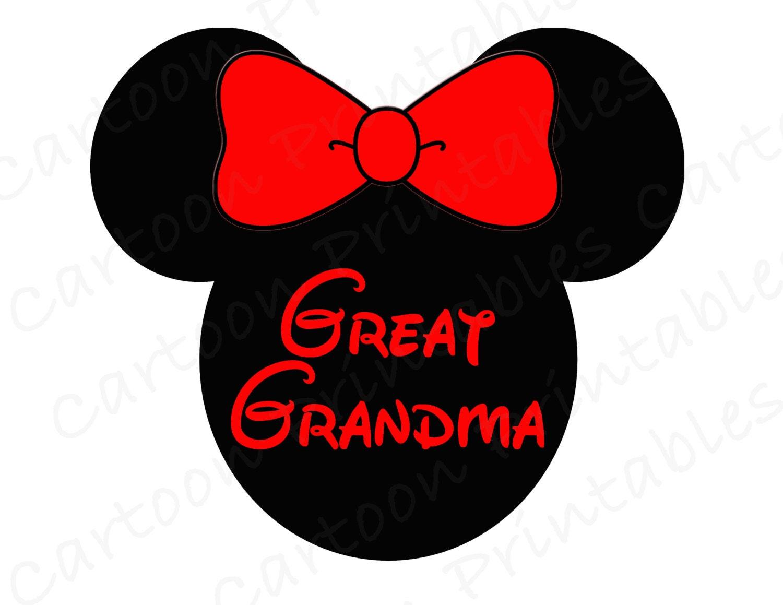 Minnie Mouse Great Grandma Image Use As Printable Iron On Transfer
