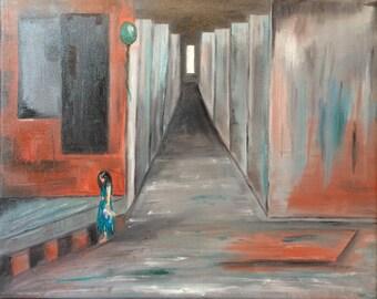 Painting sad girl - figurative art (Reproduction)