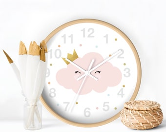 Cute Cloud Wall Clock, Kids Art Clock, Pink Cloud Clock, Clock wall design, Nursery decor, Little Girl wall Clock, Baby Decorative Clock