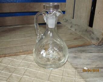 Vintage Clear Cut Glass Oil Vinegar Cruet with Stopper - Etched Cut Glass Flower Star Design