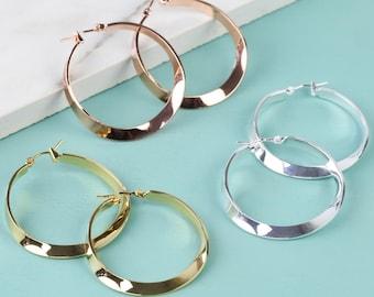 Polished Twisted Hoop Earrings