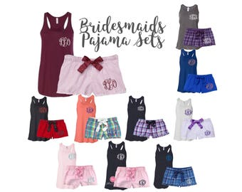 Personalized ladies pajama set , monogrammed shorts pjs, monogrammed tank , bridesmaid tanks , monogrammed flannel pjs, getting ready shorts