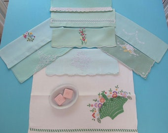 9 Towels Destash Lot Fingertip Guest Shades of Green Linen Cotton Hand Embroidered Crocheted Lace Cutwork Vintage c.1930s