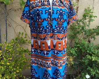 1960s 1970s rétro bleu marron style art déco psychédélique Maj robe taille XL