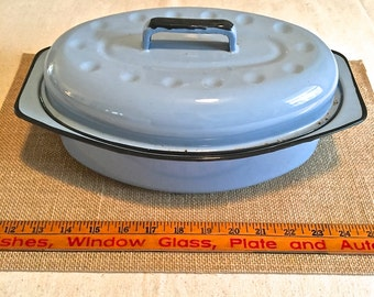 Blue Enameled Cookware- Casserole Dish with lid