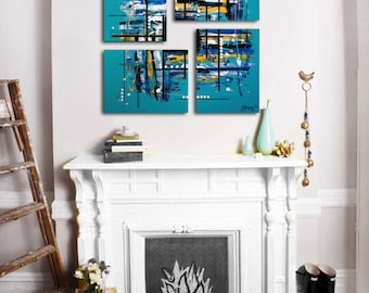 """Original 4 piece abstract painting. 26x26"""". Turquoise painting. Large painting. Canvas art. Modern wall art. Boy's room decor"""