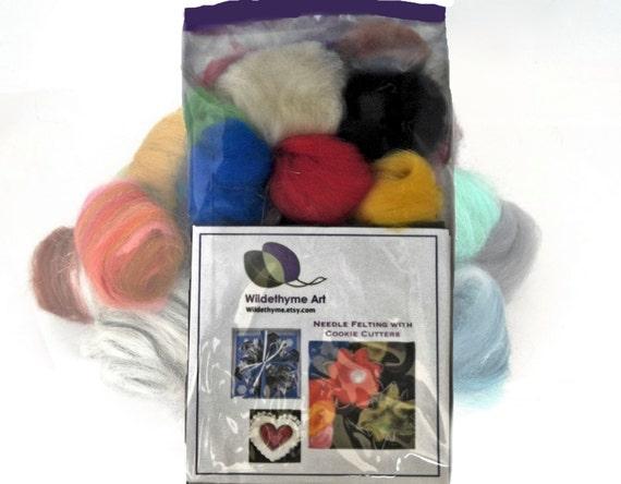 Needle Felting Kit, DIY kit, DIY Gift, Felting Mini Starter kit, Craft Kit, basic colors, beginner kit, needle felting gift, Starter Kit,