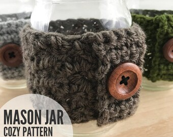 Crochet Mason Jar Cozy Pattern, Crochet Mason Jar Holder Pattern, Mason Jar Cozy Pattern, Mason Jar Holder Pattern - PDF Instant Download