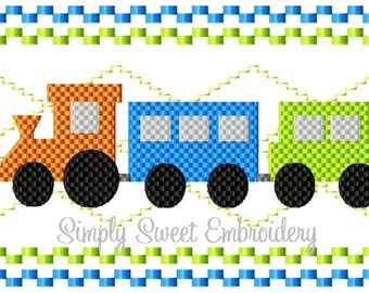 Train Faux Smocking Machine Embroidery Design