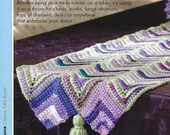 Chevron Table Runner Crochet Pattern, Home Decor, Dresser, Desk, Chests, Kitchen Decor, Annie's Scrap Crochet