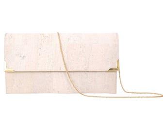 Wedding Clutch Purse, White Foldover Clutch, Vegan Cork Bag, Gold Party Clutch, Folio Clutch with Chain Strap, White Cork Bag, Spicer Bags