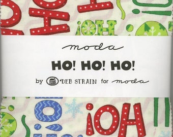 Ho! Ho! Ho! Charm Pack from Moda, Set of 42 5-inch Precut Cotton Fabric Squares (19700PP)