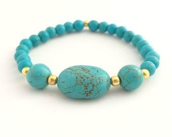 Turquoise Bead Bracelet - Turquoise Stone Bracelet - Beaded Stretch Bracelet - Turquoise Gemstone Bracelet - Turquoise and Gold Bracelet