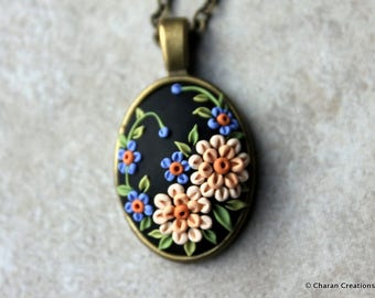 Elegant Polymer Clay Applique Statement Pendant Necklace in Black and Peach