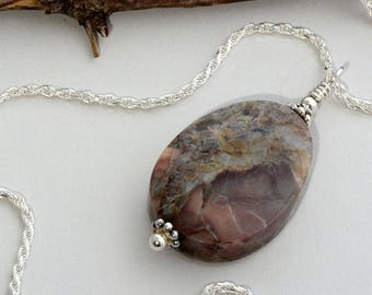 Butterfly wing jasper necklace natural stone necklace jasper earthy jewelry boho bohemian jewelry sterling silver wire wrapped jewelry