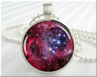 Rosetta Nebula Necklace, Picture Pendant, The Rosetta Space Nebula, Resin Jewelry, Gift Under 20, Space Gift, Hubble Picture 412RS