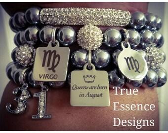 Virgo Zodiac Bracelet Set made w/ Hematite