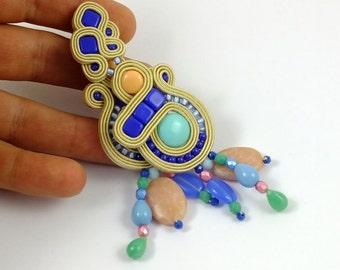 Colorful beaded earrings, Soutache statement earrings, Cobalt Blue earrings, Green earrings, Yellow earrings, Summer earrings, Mothers Day