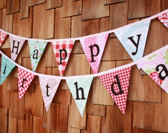 Happy Birthday Bunting, Ready to Ship, 2 Fabric Bunting Banners, Designer's Choice Banner, Party Flags. Party Decoration.  Pink, red, blue.