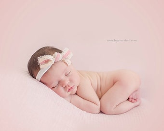 Lulu - Tie Back Open Halo Headband Wrap - Pink Cream Tan Beige - Lace Bow Ribbon - Newborn Baby Girl Infant Adults - Photo Prop