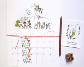 2018 Calendar - 2018 wall calendar - 2018 calendar with a planner - green house house plants illustrations - 2018 illustrated wall calendar