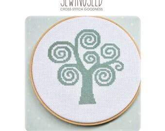 Swirly Tree Cross Stitch Pattern Instant Download